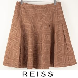 Reiss Embroidered Skirt Pleated A-Line Brown 10
